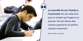 La nouvelle loi sur l'entrée à l'université : une sélection pure et simple, socialement orientée !