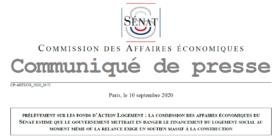Le gouvernement va prélever 1 à 1,5 Mds€ sur Action Logement - Communiqué de presse de la commission des affaires économiques du Sénat